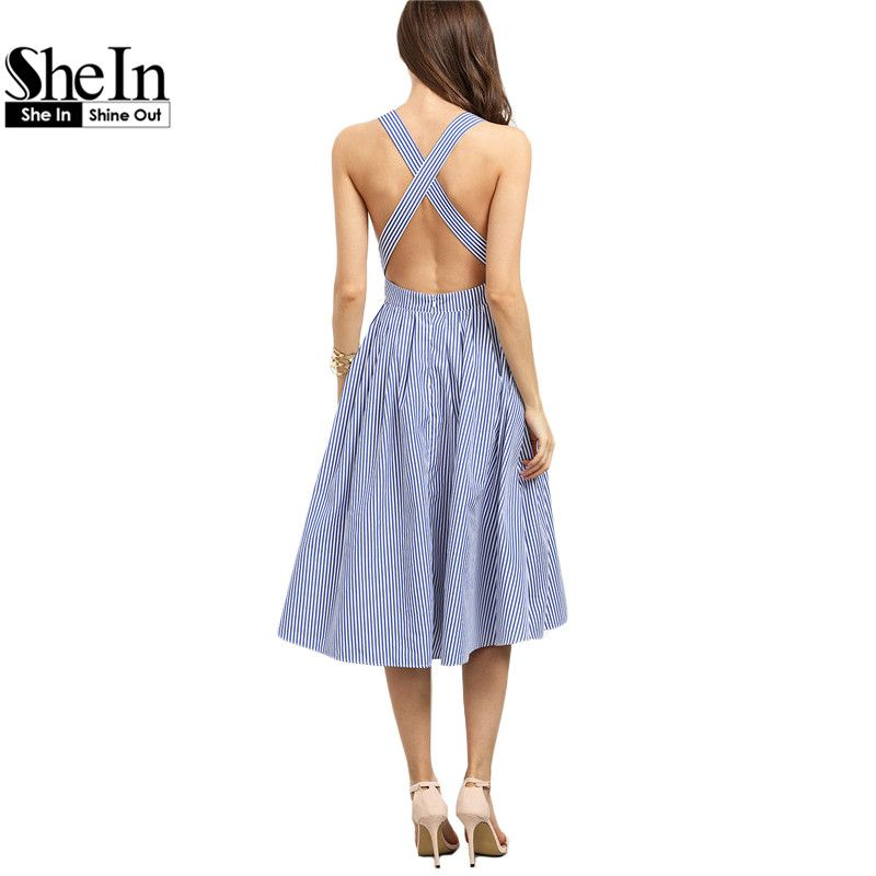 02ed7ac03d2713 COLROVE Beach Wear Summer New Style 2016 Women Blue Striped Sleeveless  Criss Cross Back A Line Backless Dress   You can find more details by  visiting the ...