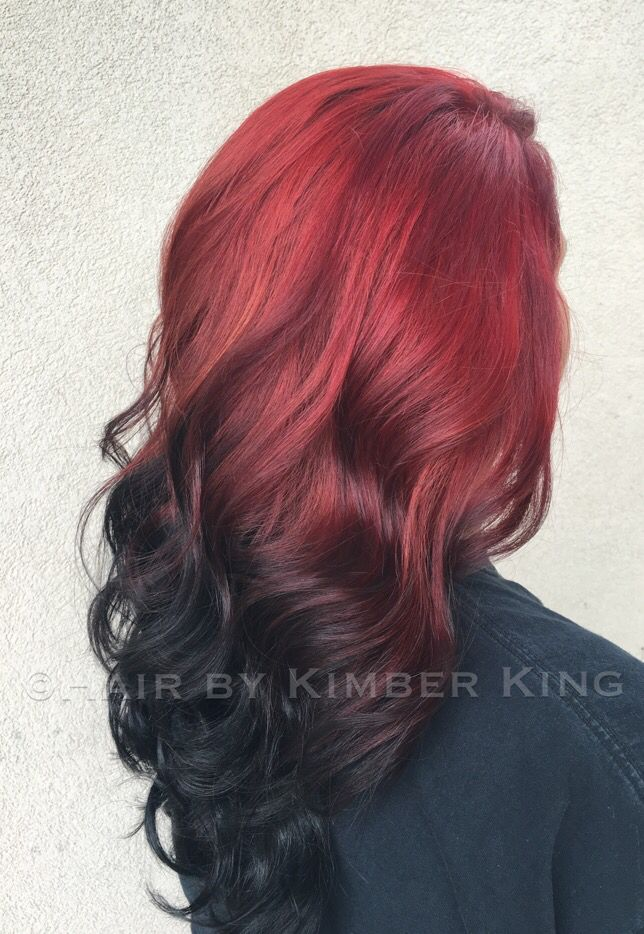 Reverse Ombre Red To Black Using Joico Lumishine Color Hair