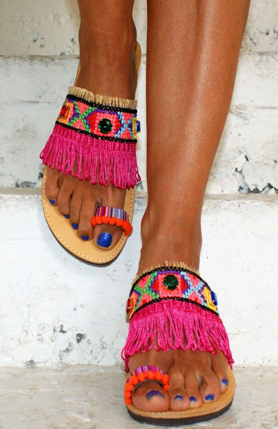 Boho Hippie #Sandals Handmade Greek Women Leather by