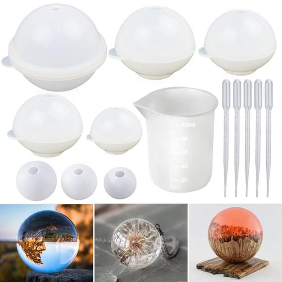 Round Sphere Silicone Resin Molds, 8PCS Epoxy Resin Ball