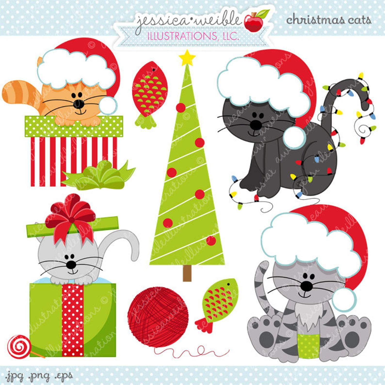Christmas Cats Cute Digital Clipart for Commercial and
