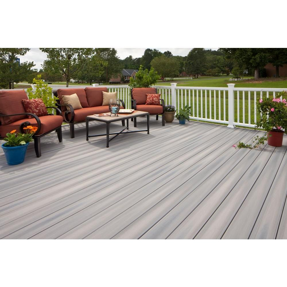 Veranda Armorguard 1 In X 5 1 4 In X 20 Ft Seaside Gray Grooved Edge Capped Composite Decking Board 56 Pack Building A Deck Small Backyard Decks Diy Deck