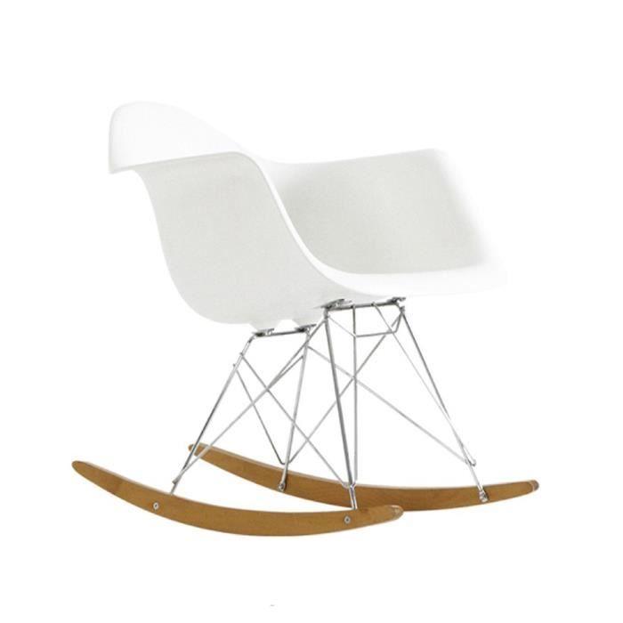 Fauteuil  bascule style RAR blanc Achat Vente fauteuil Blanc