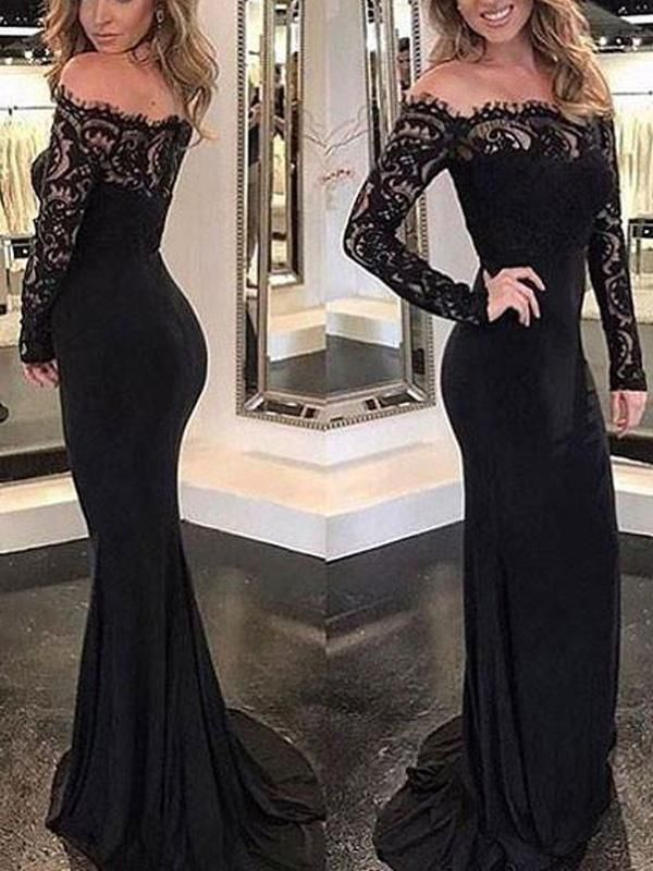 71f9afe0c83e Sexy Black Off Shoulder Long Sleeves Lace Mermaid Custom Long Evening Prom  Dresses, 17377
