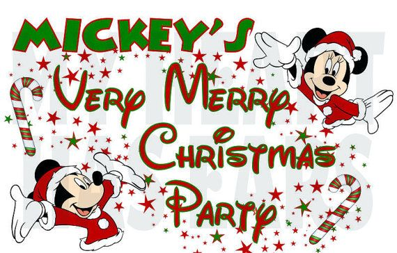 Christmas Party Images Clip Art.Printable Diy Disney Mickey Minnie Mouse Very Merry