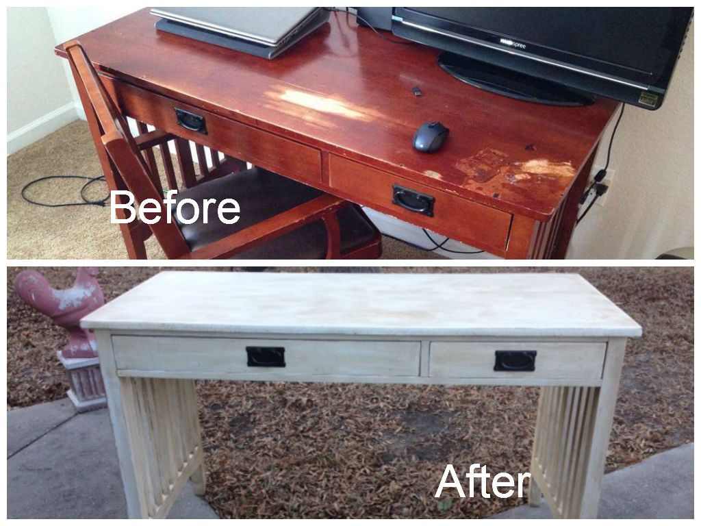 Mission Style Desk Before And After. Chalk Painted, Distressed And Dark  Waxed. Amazing