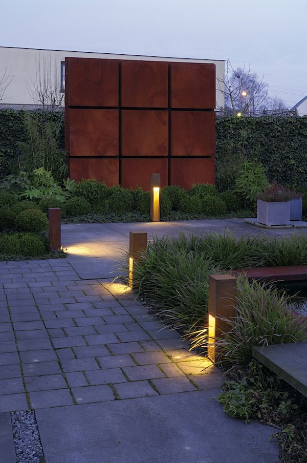 Rusty Slot Outdoor Bollard By Slv Lighting 4229410u Outdoor Landscape Design Garden Lighting Design Garden Path Lighting