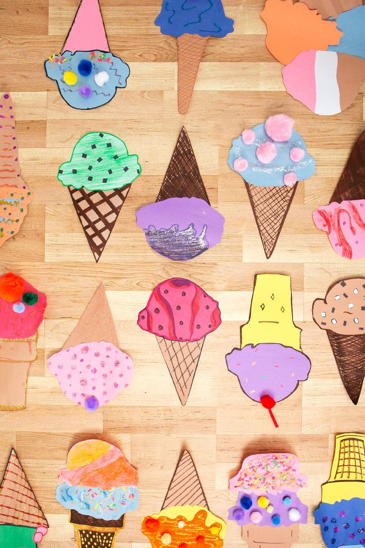 Entertain kids (and kids at heart) with a great afternoon activity, making paper ice cream cones! Includes printable templates of ice cream shapes, cones and soft serve. Toddler Arts And Crafts, Crafts For Boys, Fun Crafts, Ice Cream Cone Craft, Ice Cream Crafts, Cupcake Illustration, Kindergarten Crafts, Preschool, Summer Activities For Kids