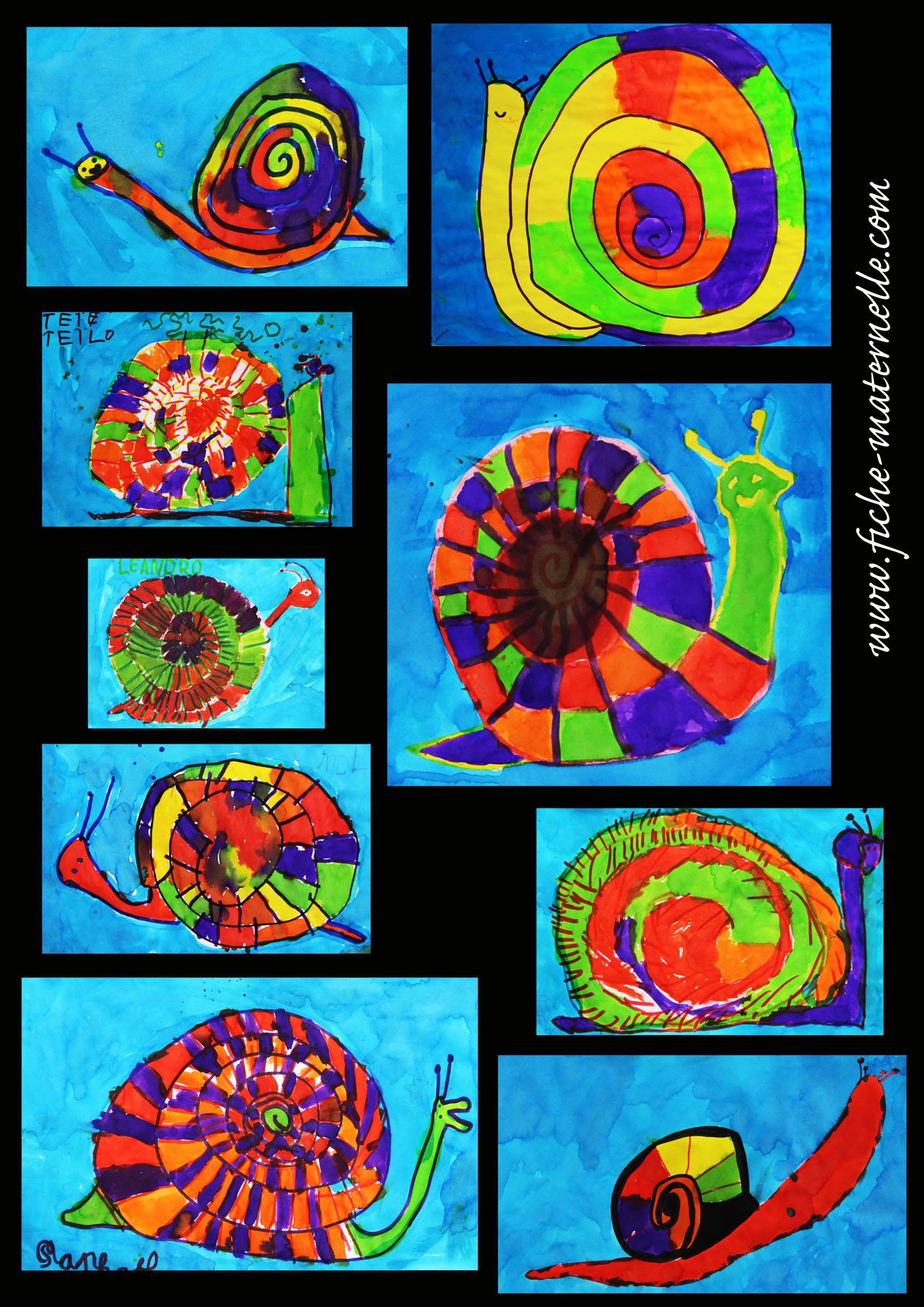 Arts plastiques encres de couleurs arts visuels - Escargot maternelle ...