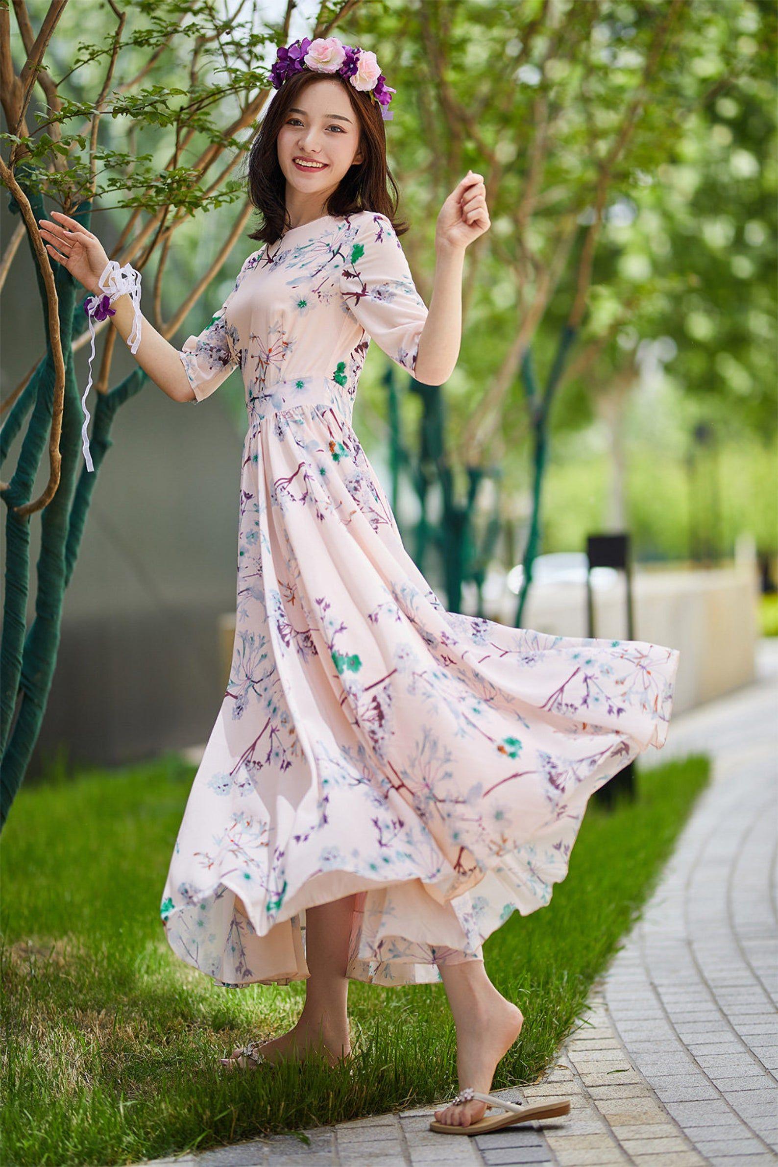 Chiffon Dress Long Flower Dress Women Summer Dress Prom Etsy Chiffon Dress Long Floral Chiffon Dress Flower Dress Women [ 2382 x 1588 Pixel ]