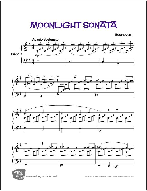 Moonlight Sonata | Pinterest | Klaviernoten und Musik
