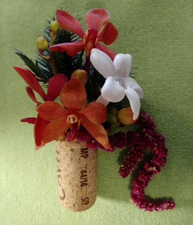 Mokara Orchids, Stephanotis, Hypericum, Hanging Amarynthus