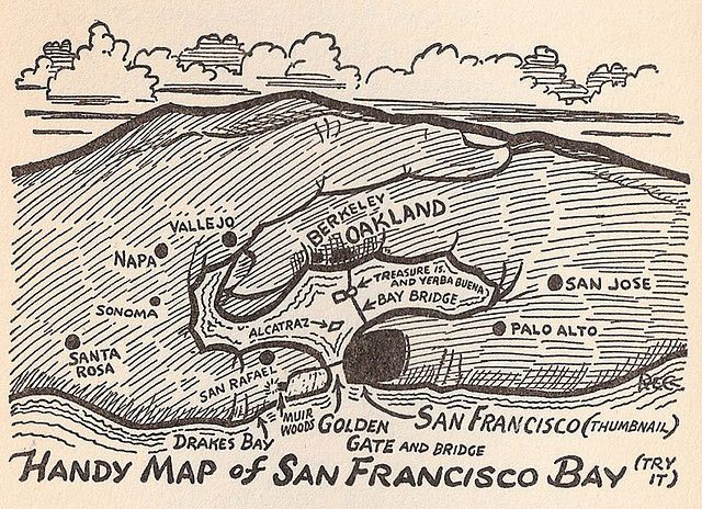 Reg Manning S Handy Map Of San Francisco Bay Map Art Area Map San Francisco I just wanted a nice map of the bay area for my office wall, since i haven't lived here too long and i'm still learning the geography. handy map of san francisco bay