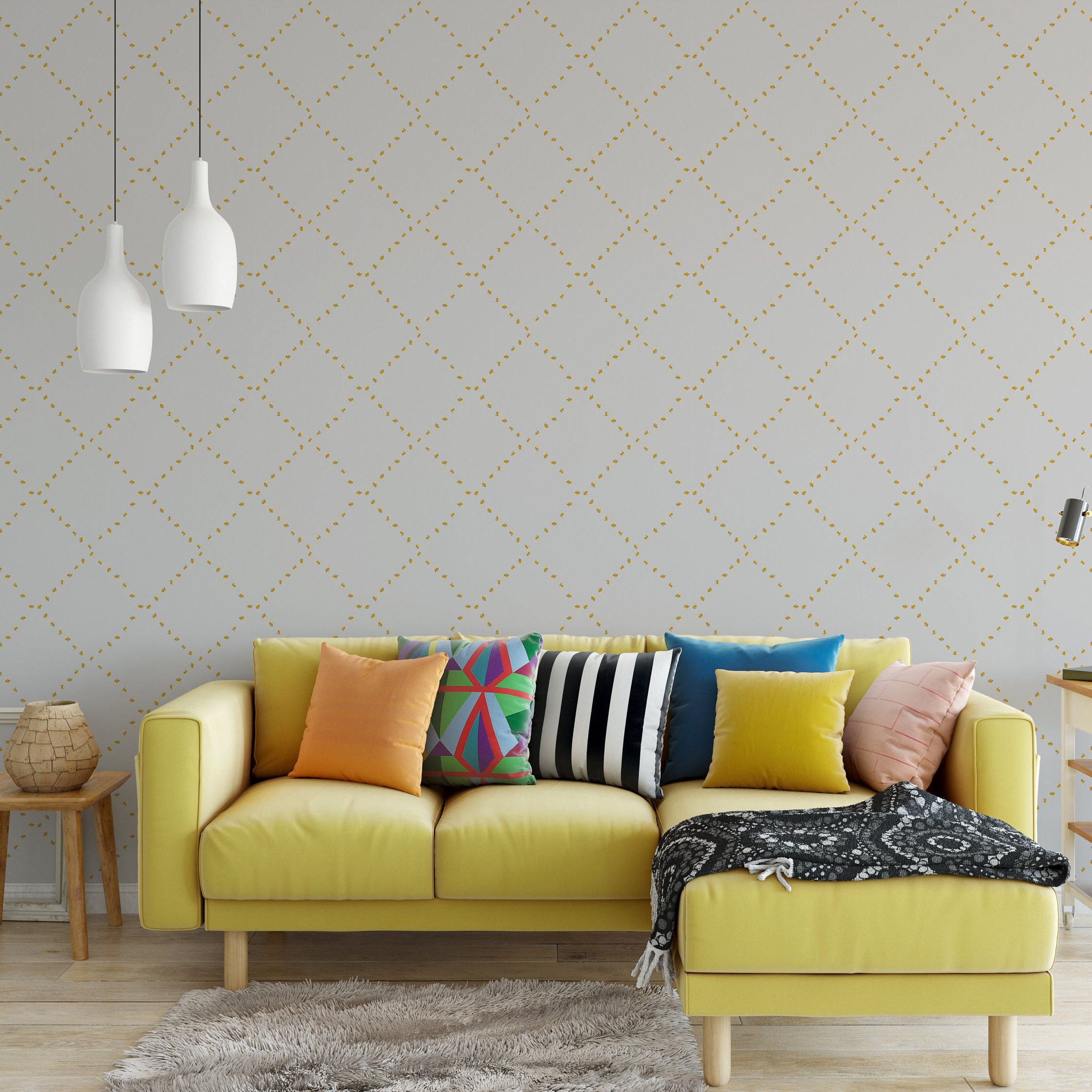 Contemporary Wallpaper Classic Gray And Gold Living