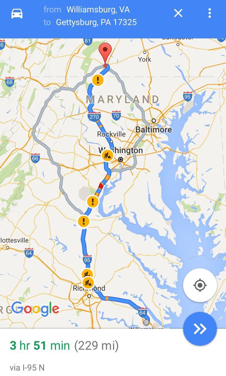 Gettysburg to williamsburg va 4 hours gettysburg williamsburg gettysburg to williamsburg va 4 hours gumiabroncs Gallery