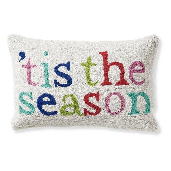 Grandin Road Christmas Merry And Bright Tis Season Hook Pillow 49 Liked On Polyvore Featuring Home Home Decor Chr Merry And Bright Hooked Pillow Pillows