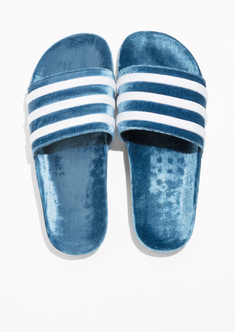 5cd1491c9 & Other Stories image 5 of adidas Adilette Slides in Blue | STYLE in ...