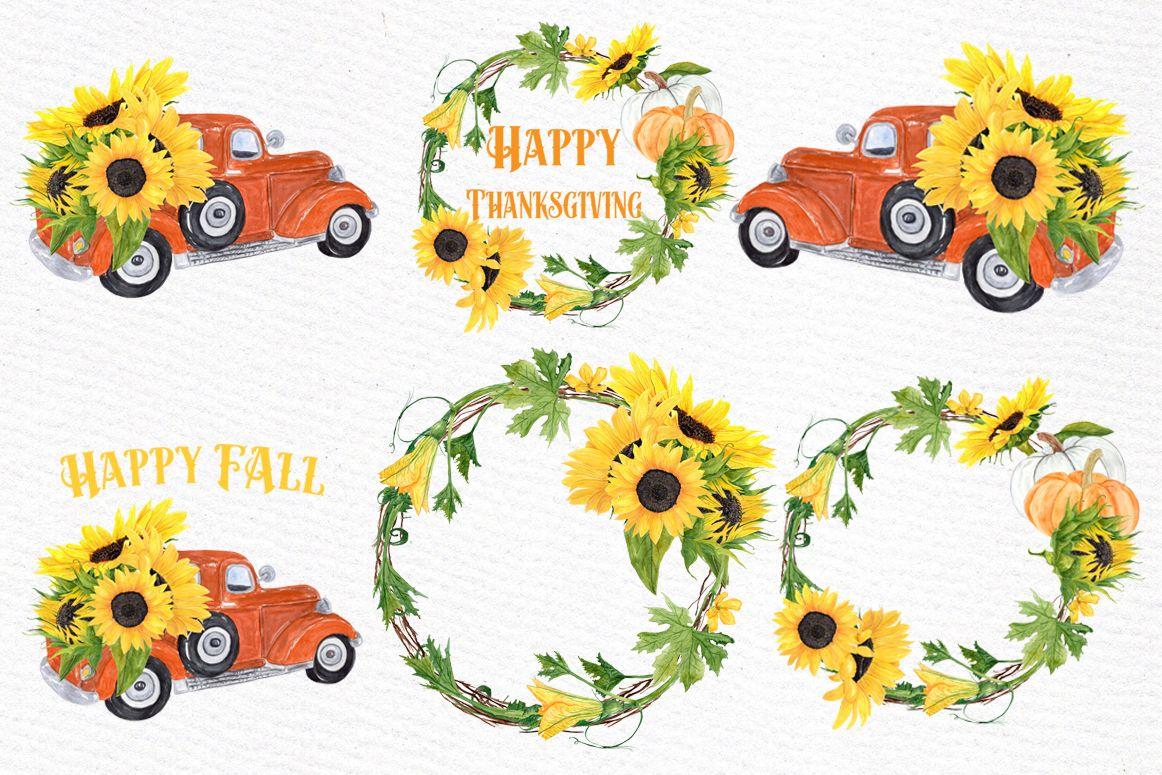 Sunflower clipart, SUNFLOWER WREATHS, Thanksgiving clipart ...