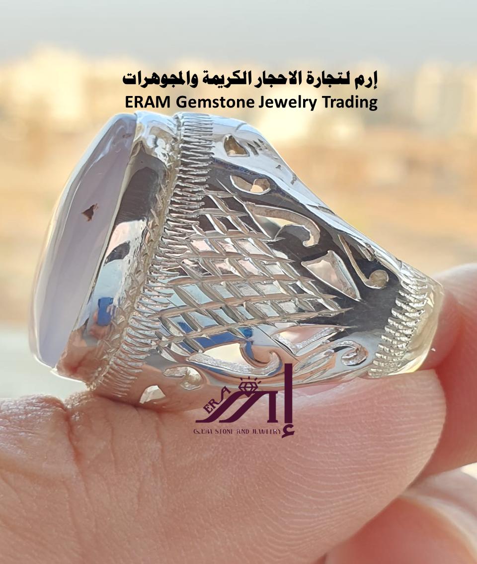 خاتم ملكي رسمي عقيق ازرق سماوي طبيعي100 Agate للعرض Gemstone Rings Gemstone Jewelry Gemstones