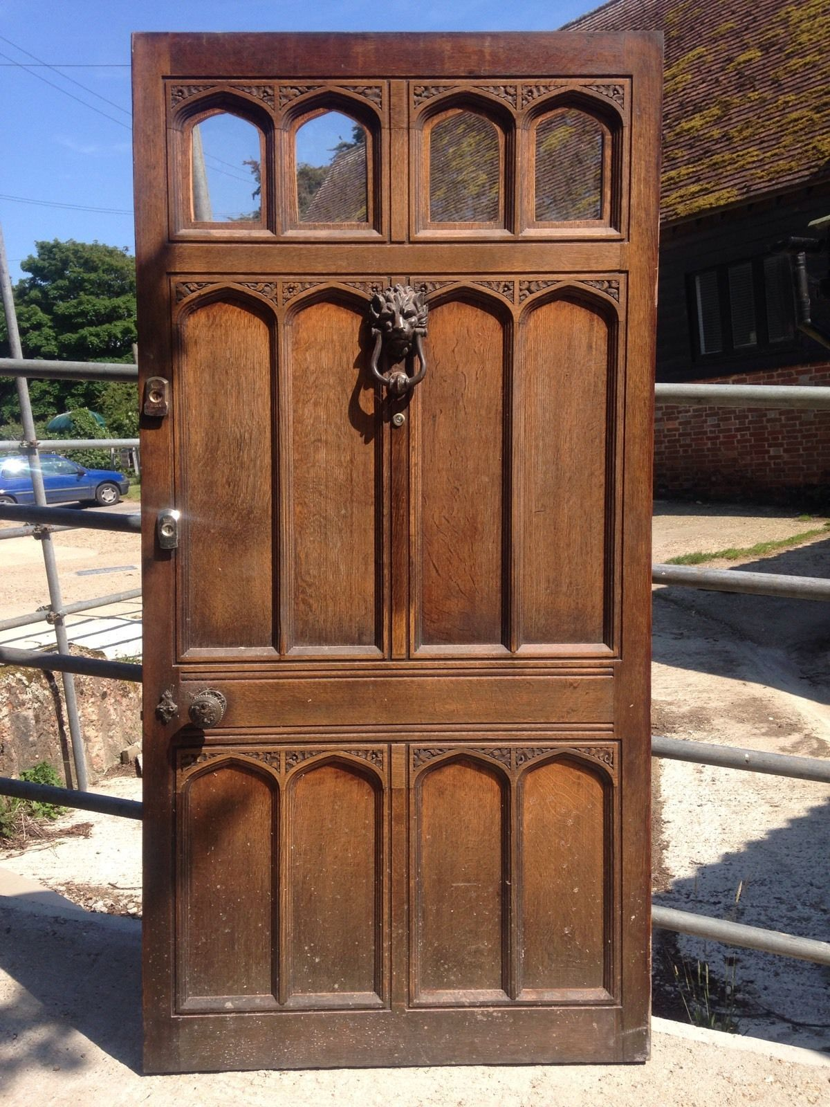 HUGE SOLID OAK FRONT DOOR + FRAME ANTIQUE OLD PERIOD LARGE VICTORIAN  EDWARDIAN | EBay