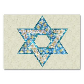 zentangle in the star of david in peacock feather | Gem decorated Star of David Business Card Templates
