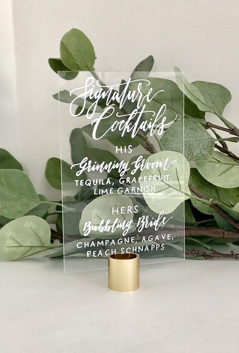 Wedding Signature Cocktails Sign   Acrylic Signs   Wedding Open Bar Menu   Clear Wedding Signs   Personalized His Hers Drinks Sign Weddings #personalizedwedding