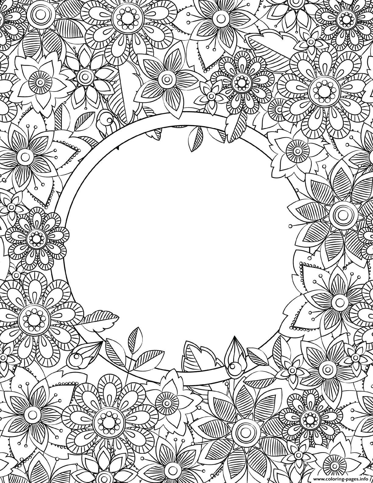 Print Binder Cover Adult Flowers Coloring Pages Coloring Pages