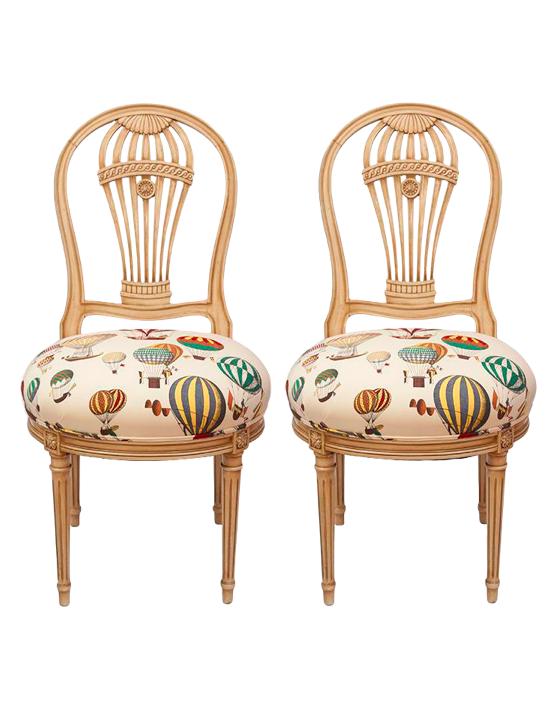 Pair Of Maison Jansen Balloon Chairs In Fornasetti Hot Air Balloon Fabric