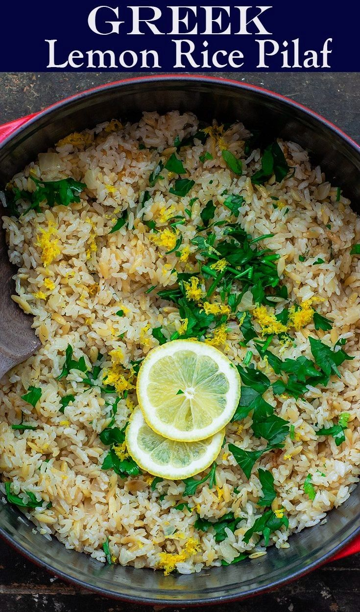 love this bright and super tasty Greek lemon rice with onions, garlic, lemon and fresh herbs. Two s