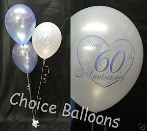 Diamond Anniversary Party Supplies 60th Wedding Balloons 5 Decorations Ebay