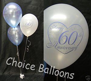 Diamond 60th Wedding Anniversary Balloons 5 Decorations | 60 wedding ...