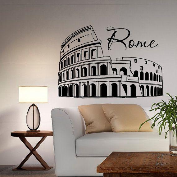 Roma Colosseo parete decalcomania vinile adesivo Italia Skyline Silhouette interni parete decalcomanie murales Office salotto camera da letto Home Decor C034