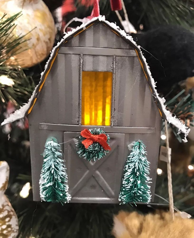 Lighted Barn Christmas Tree Ornament W/ Bottle Brush Trees ...