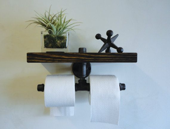 Black Pipe Dual Toilet Paper Holder Shelf The Over Under Thick