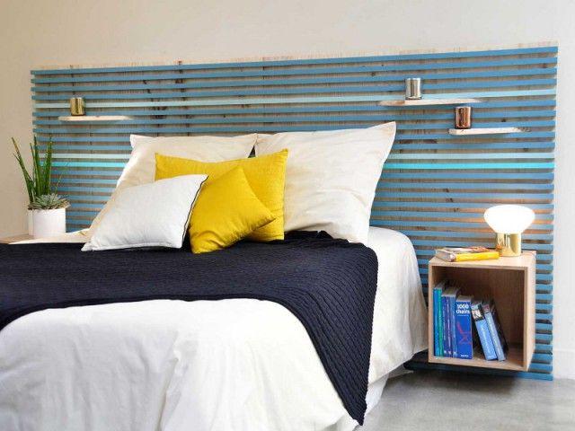 chambre 10 t tes de lit faire soi m me id es pour la maison lit tasseau et t te de lit bois. Black Bedroom Furniture Sets. Home Design Ideas