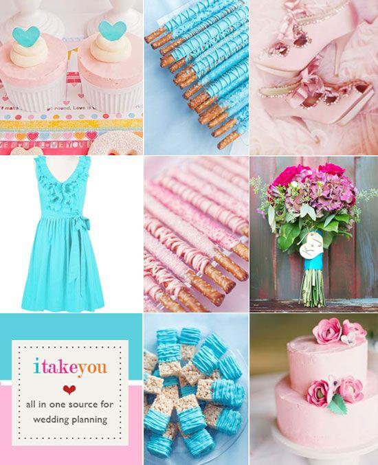 Turquoise Pink Wedding Colors Palette Colour