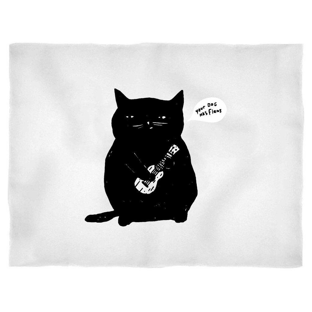 Cheeky Ukulele Cat My Dog Has Fleas Kitten Blanket