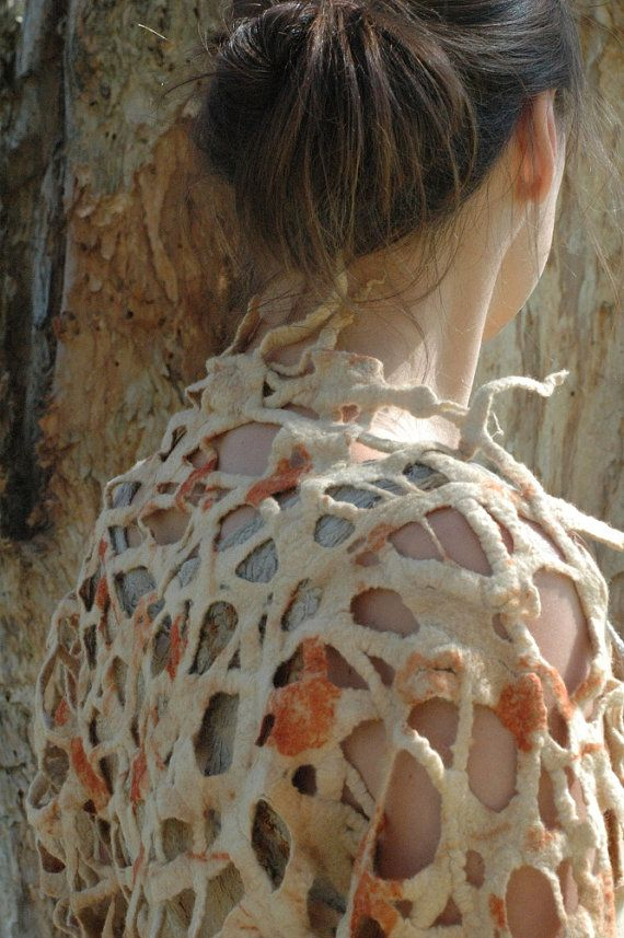 Eco print felted lattice shrug OOAK by GinaMastio on Etsy, $200.00