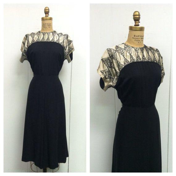 1940er Jahre schwarzes Party Kleid 40 s von CreatedAndCollected