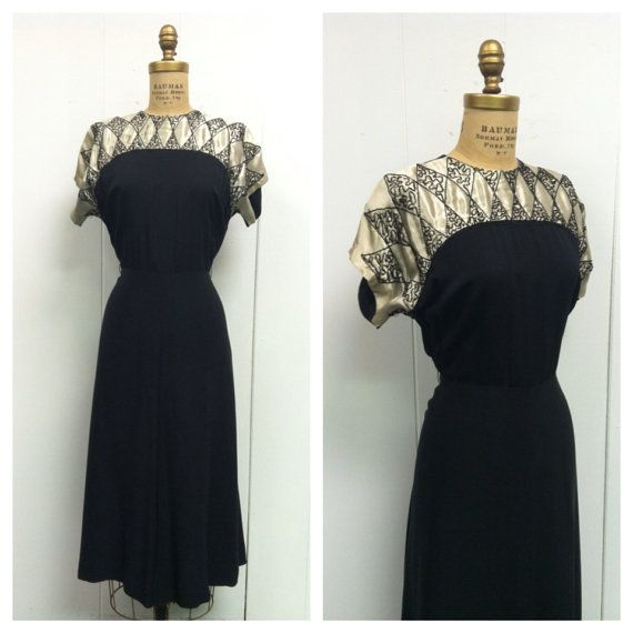 1940s Black Party Dress 40s | Schwarze Party, 1940er und Party