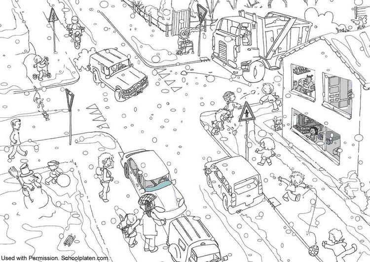 Coloring Page Winter Traffic Ausmalbilder Ausmalbilder Kinder