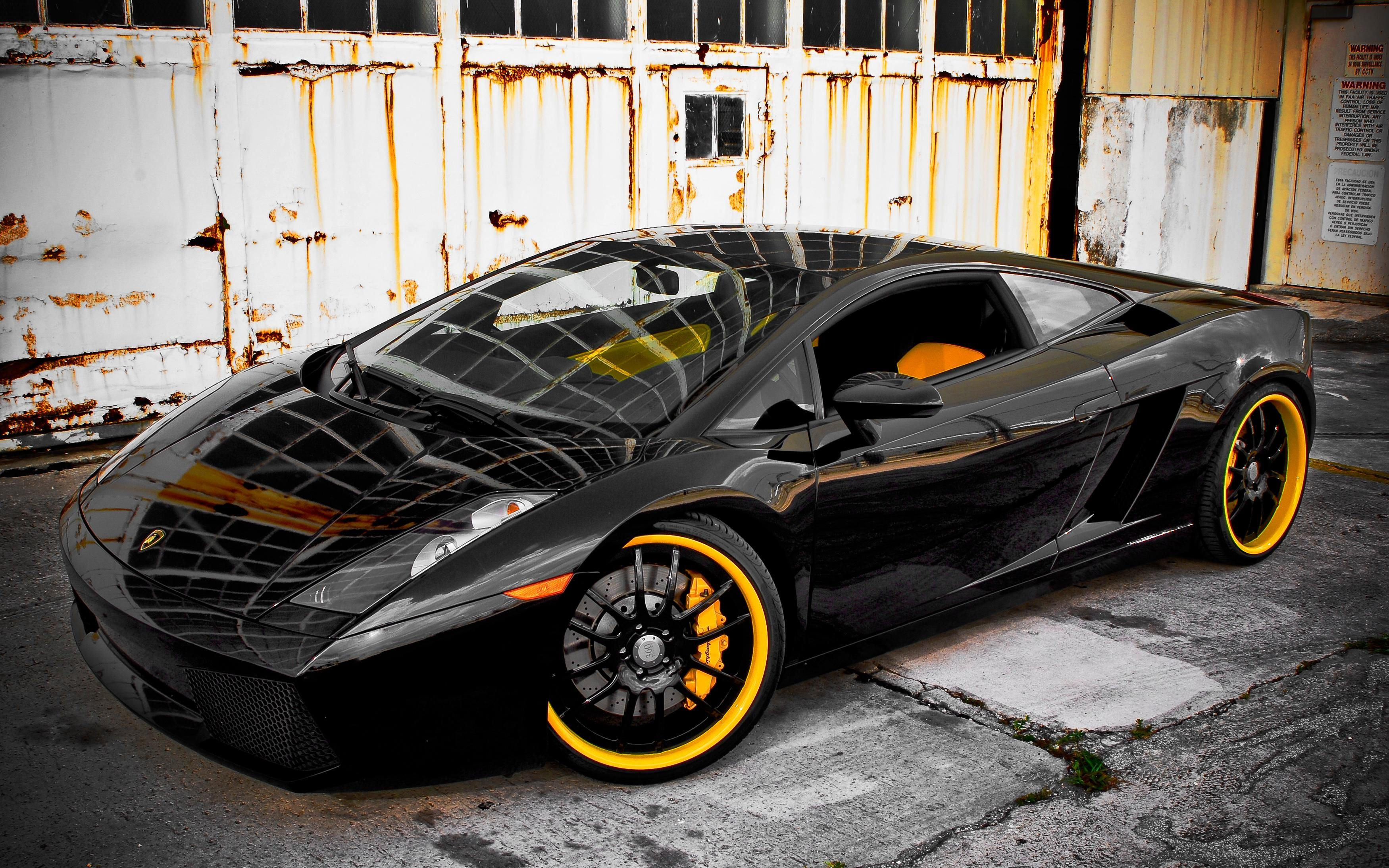 360 Forjado Lamborghini Gallardo Preto Hd Papel De Parede