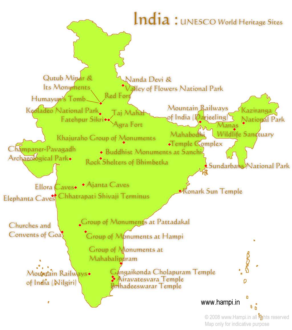unesco world heritage site india map - HD 1024×1157