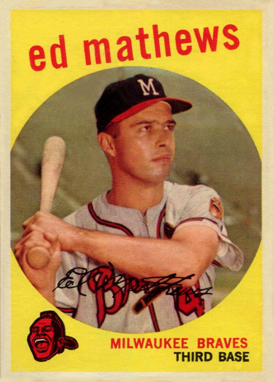 1959 topps eddie mathews old baseball cards baseball