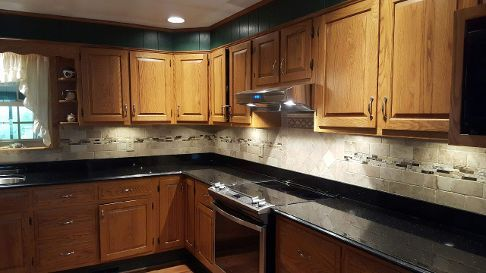 Black Galaxy Granite Counters with subway tile back splash | Granite on black galaxy kitchen ideas, black galaxy tile, black granite backsplash ideas, black galaxy kitchen countertops,