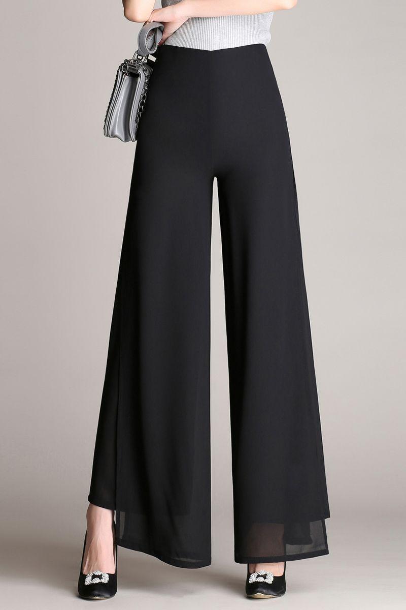 Larga Cintura Loose Mujeres Vintage Pantalones Gasa Alta Señoras doeBxrC