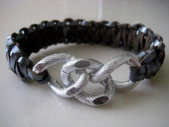 Celebrity Inspired Gunmetal Metallic Leather Cobra Chunky Silver Curb Chain Bracelet...Stack 'em Up    by CelebrityTrendz, $34.00
