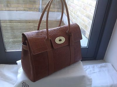 1b737f41e32 Mulberry Bayswater handbag Oak Croc Printed Veg Tanned Very Good Condition