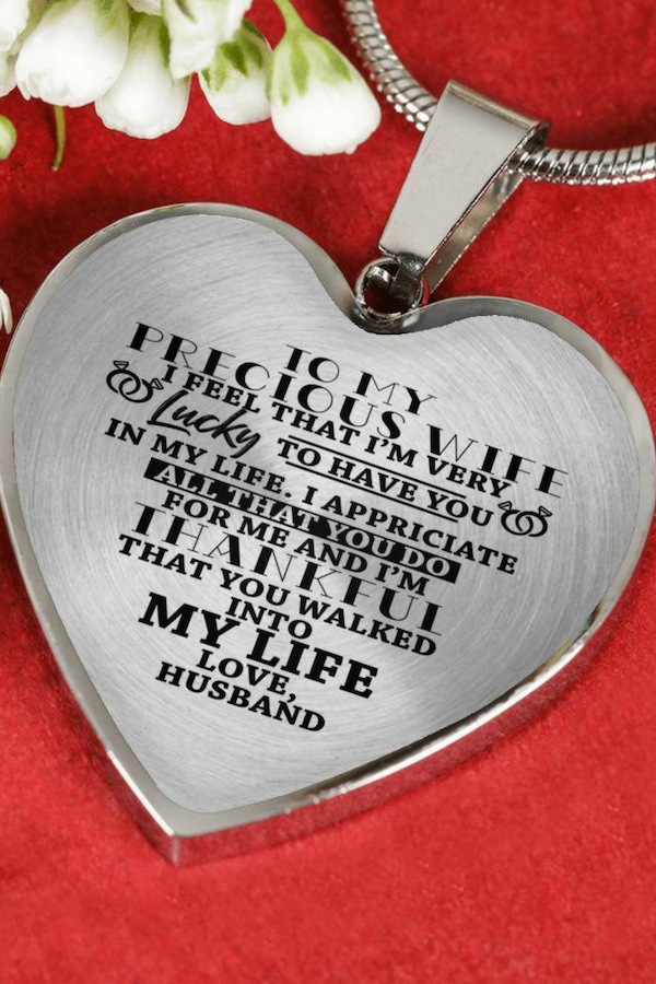 To My Precious Wife I Am Lucky Luxury Heart Shape Necklace Anniversary Birthday Gift Christmas Gifts For Wife Birthday Gift For Wife Gifts For My Wife