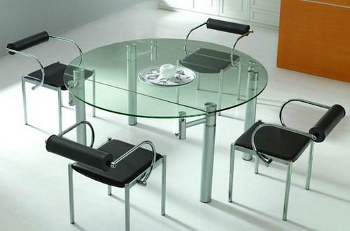 Extended Glass Top Dining Round Table And Chairs Dining Table